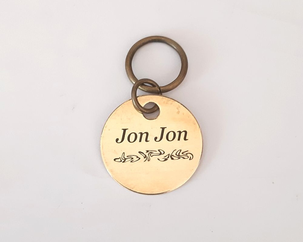 Laser engraved brass ID tag